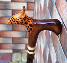 Giraffe Cane Walking Stick Wooden Handmade Wood Carving Exclusive Folk Art/.