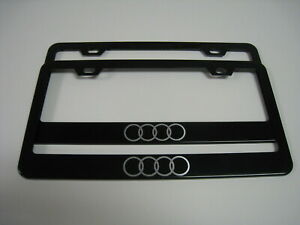 "2 Brand New 4 RING""AUDILOGO"" BLACK Metal License Plate Frame Front&Rear"