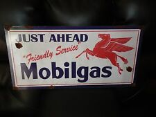 Old style-porcelain look large Mobil pegasus delaer just ahead service sign