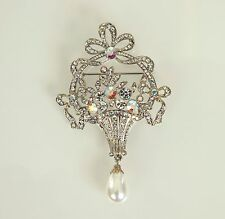 Butler & Wilson Wedding Brooch Crystal & Faux Pearl Drop Silver Tone