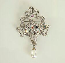 Butler & Wilson Wedding Brooch Crystal & Faux Pearl Drop Silver Tone