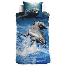 Haien Delphine Seepferdchen Blasen Blau Baumwollmischung Einzel 3 Teile Bett Set
