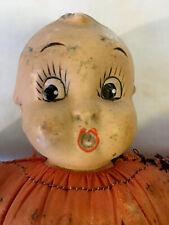 Antique Vintage Pin Cushion, Bisque Big Eyed Doll