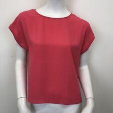 New Look Ladies Red Cap Sleeve Chiffon Sheer Short Blouse T-Shirt Top UK Size 10