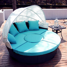 5pc Outdoor Furniture Set Wicker Daybed Round Table 4 Chairs Pillows Cover