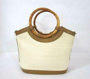 "Fossil Straw Brown Leather Handbag Woven Round Handles 75082 VTG 10""x12.5""x3"""