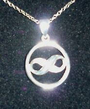 "925 STERLING SILVER ETERNITY SYMBOL PENDANT ON 16"" SILVER CHAIN"