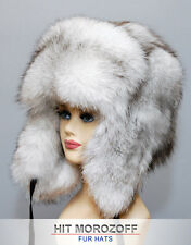 BLAU FUCHS Pelzmütze Chapka Ushanka Fox Fur Hat Wintermütze Tschapka Fell Mütze