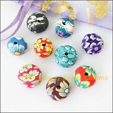 25Pcs Mixed Polymer Fimo Clay Round Flower Flat Spacer Beads Charms 12mm