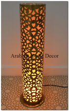 "Unique Handcrafted Moroccan 24"" Height Cylinder Brass Floor Lamp Light"