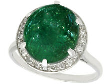 Antique 5.60ct Emerald and 0.28ct Diamond Platinum Dress Ring