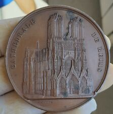 RARE ARCHITECTURE MEDAL BY WIENER - CATHEDRAL REIMS  1859