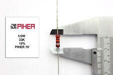 VINTAGE PIHER RESISTOR. 1/2W 33K 10% *1 PC* NOS (New Old Stock)1970´S+