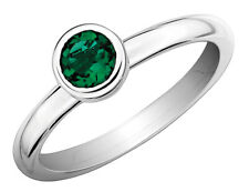 Created Emerald Ring 2/5 Carat (ctw) Sterling Silver
