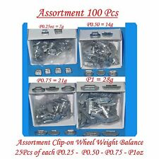 100 Pcs ASSORTMENT CLIP-ON WHEEL WEIGHT BALANCE  P STYLE P0.25 P0.50 P0.75 P1oz