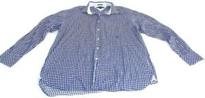 Tommy Hilfiger Shirt Blue White Gingham Long Sleeve Button Up Mens XL Vintage
