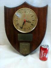 "VINTAGE beveled 17"" wood WALL hanging CLOCK Plaque Hebrew Clock Jewish Judaica"