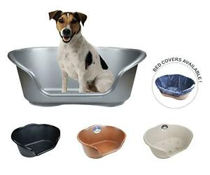 Plastic Dog Bed Basket Heavy Duty Waterproof Pet Cat Plush Cover Large 4 Colours