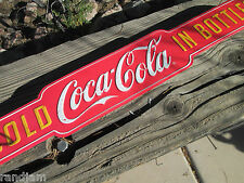 COCA COLA DOOR PUSH ICE COLD BOTTLES COOL Retro old school loo Soda Advertising