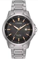 Citizen Eco Drive AW1490-50E Black Dial Rose Gold Accents Titanium Men's Watch