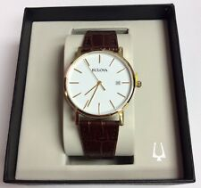 BULOVA Men's Classics Gold Tone Stainless Steel Brown Leather Band WATCH 97B100