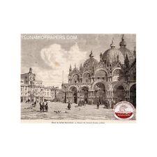 GRAVURE 1862 ENGRAVING VENISE VENICE VENEZIA PLACE ST MARC MARCO EGLISE CHURCH