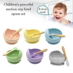 Baby Silicone Suction Bowl Spoon Set Training Tableware Bowls Feedings Home AU