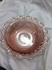 VINTAGE PINK DEPRESSION GLASS ANCHOR HOCKING OLD COLONY BOWL RIBBED / LACE EDGE