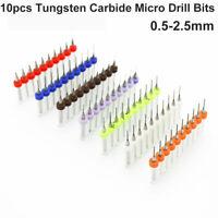 10pcs Tungsten Steel Carbide PCB CNC Micro Drill Bits Milling 0.5-2.5mm