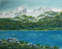 "Art14""/11""oil painting, mountains view, landscape , nature,"