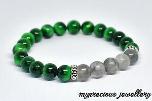 Natural Cloud Quartz Green Tiger Eye Beaded Reiki Gemstone Bracelet Stone