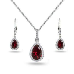 Teardrop Created Ruby & White Topaz Necklace & Leverback Earrings in Silver