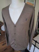 MEN'S ALL SAINTS 'SHADOW' MERINO WOOL CARDIGAN  M-L slim fit jumper sweater top