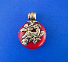 Vintage Resin & Silver Bird & Peace Sign 2 Side Pendant Repoussee Tibetan Silver