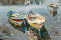 CHENPAT1205 100% handmade painted abstract boat oil painting art on canvas