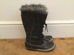 SOREL black boots lace up high winter leather rubber fur boots 8