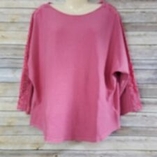Chaps Women's Shirt XL Sunset Ave Pink Lace Accents Long Sleeve 100% Cotton NWT