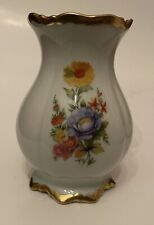 New listing Vintage Waldershof Bavaria Germany Vase Off White With Flowers 22 K Gold, Marked