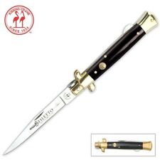 Kissing Crane Classic Black Handle Stiletto Knife - NEW - FAST SHIPPING