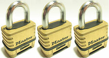 Combination Lock Set By Master 1175 (Lot of 3) Resettable Brass Sealed Carbide