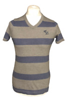 Abercrombie & Fitch Men's T Shirt Grey Blue Striped Short Sleeve Small