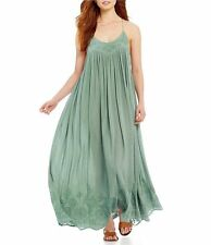 159993 New Intimately Free People Elaine Embroidered Green Long Maxi Dress M