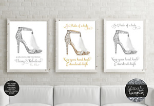 Silver Feather Designer Shoes Fashion home decor girls bedroom office art print