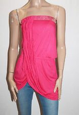 LIPSY Brand Pink Embellished Wrap Bandeau Strapless Top Size 8-XS BNWT #SW83