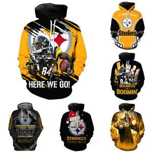 Pittsburgh Steelers Hoodie Pullover Loose Hooded Sweatshirt Sports Casual Jacket
