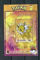 Grenada 2000 MNH Pokemon #135 Jolteon Season's Greetings 1v S/S Nintendo Stamps