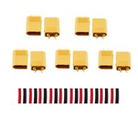 5 Pairs XT30 Connectors with 20mm Red Black Heatshrink