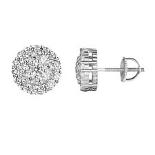 Solitaire Cluster Set Earrings Sterling 925 Silver Simulated Diamond Luxury 10mm