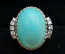 Antique Vintage 18k Gold Turquoise Diamond Ring/Gold Turquoise Ring/18k Ring