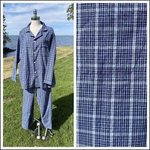 Mens Pajamas Pjs Size XL Blue Black White Cotton Blend Stafford Long Sleeve